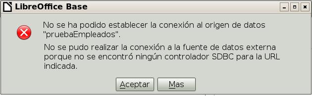 error libreOffice no se pudo establecer conexion base datos