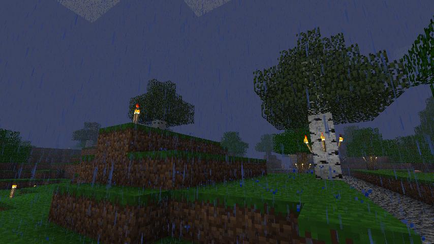 Дневной дождь в Minecraft