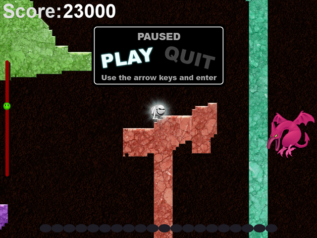 Fleshing it out: With armour, levels, a basic HUD, and a pause menu, my flea game was taking shape.