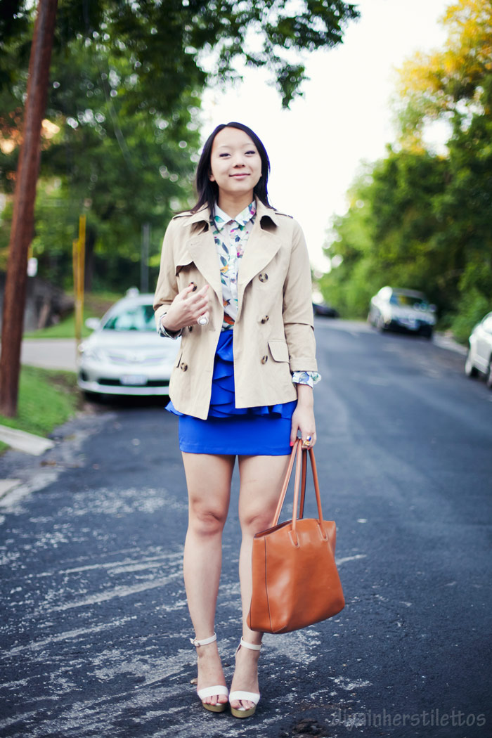 lulus bird blouse, lulus peplum blue skirt, dollhouse platform shoes, forever 21 trench coat, bodhi bag, austin fashion blog, diya liu