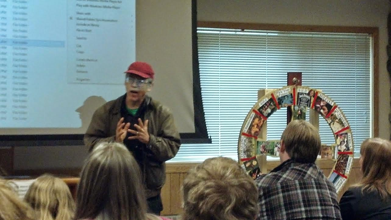 "David Arora & his ""Wheel of the Fungi."" Girdwood Fungus Fair 2014."