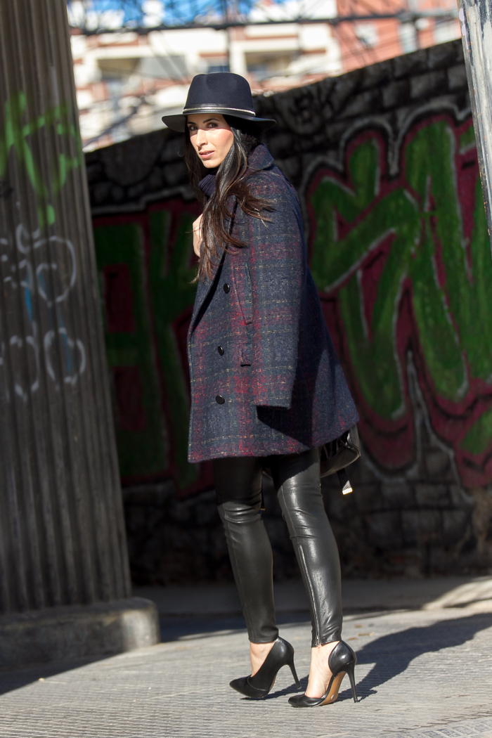 Navy blue plaid coat with Muubaa Rica leather pants