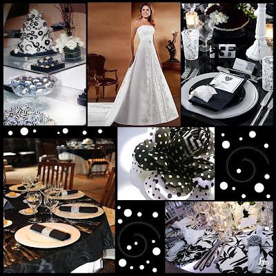 Decoração e Convite de Casamento Preto e Branco