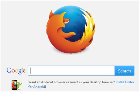 Tampilan Awal Mozila Firefox