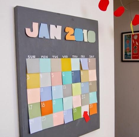 kalendarz z karteczek samoprzylepnych 2015