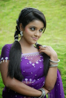 Cute Beauty Padmini in lovely Transparent Purple Saree