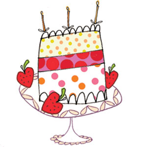 strawberry cake candles greeting cards stationery designers Liz and Pip Ltd