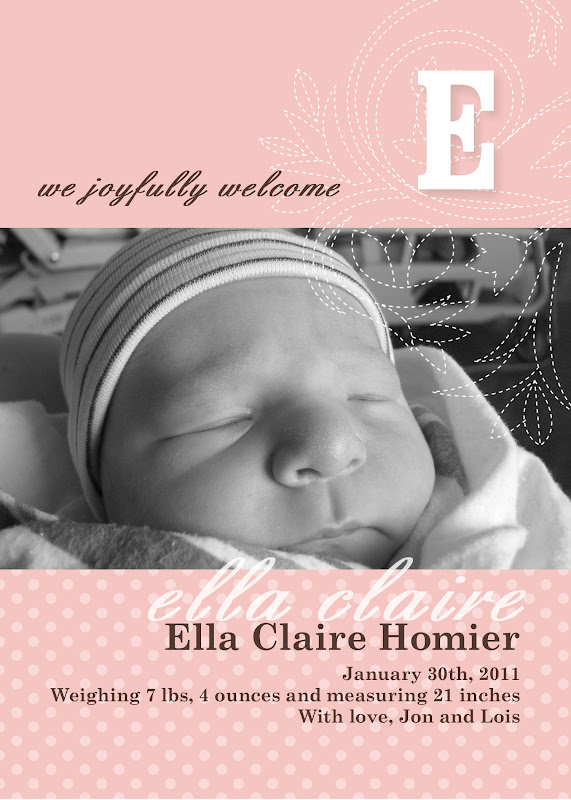 here is a sample of a baby announcement by using a 5x7 postcard very simple and elegant the fonts used are english and century schoolbook