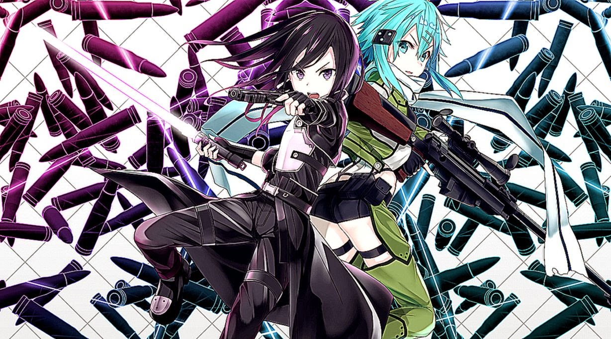Gun Gale Online Anime Kirito With Sinon Wide Wallpaper