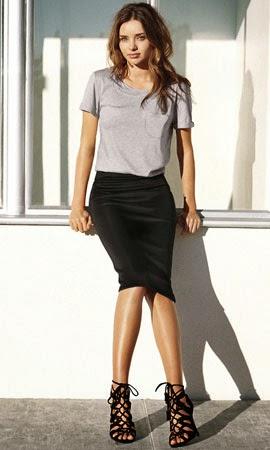 moda mujer primavera 2014 Miranda Kerr falda lápiz