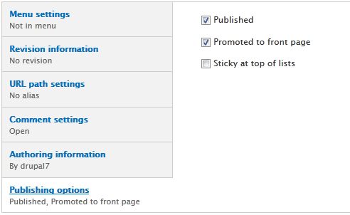 Promoted to front page & Sticky at top of lists in Drupal 7