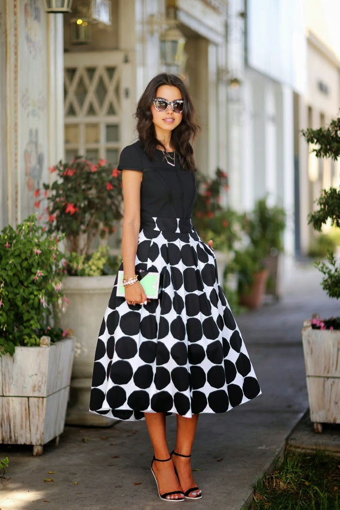 Black And White Mega Dot Maxi Skirt by Vivaluxury