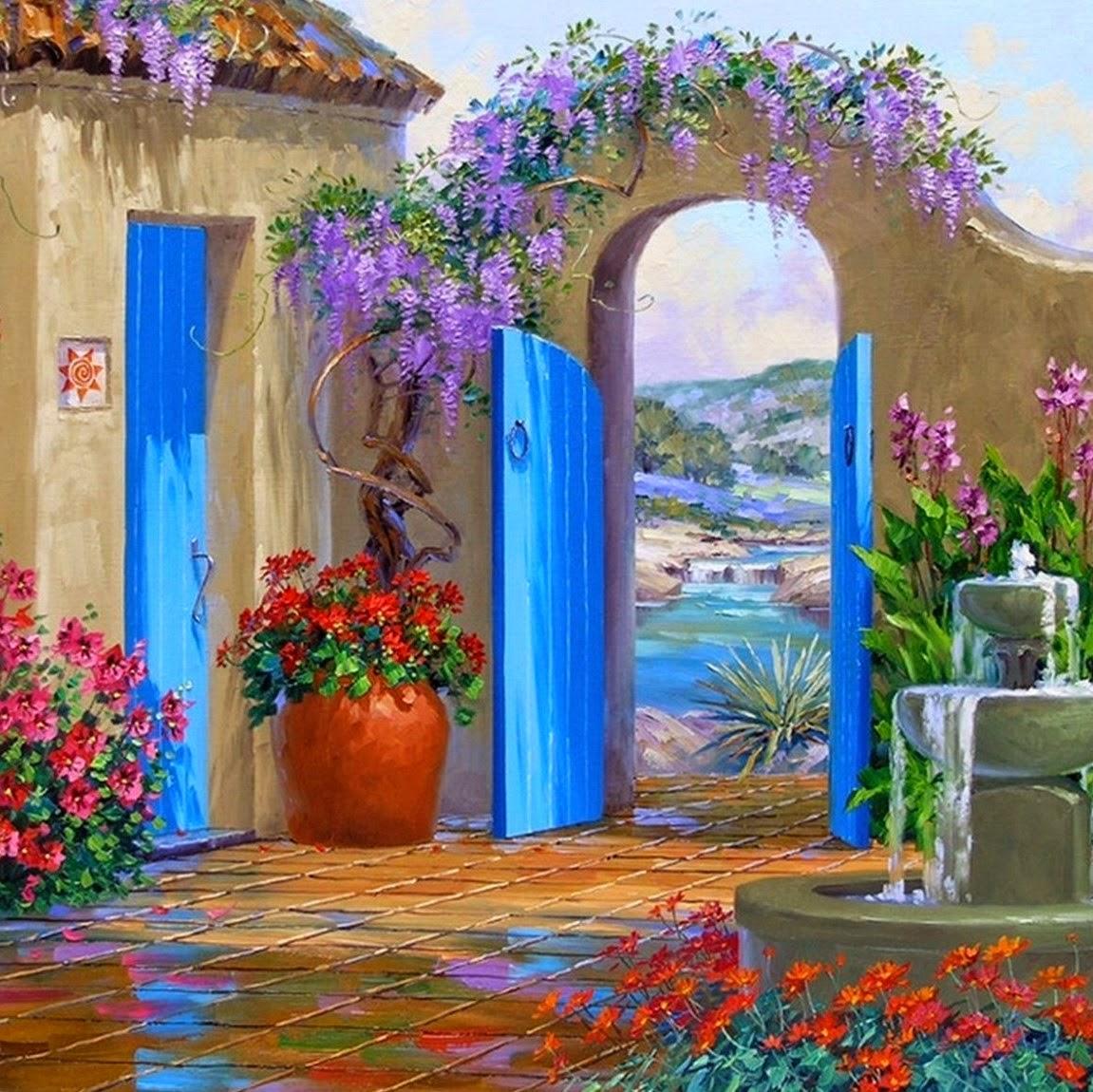 pinturas-de-paisajes-y-flores-con-espátula