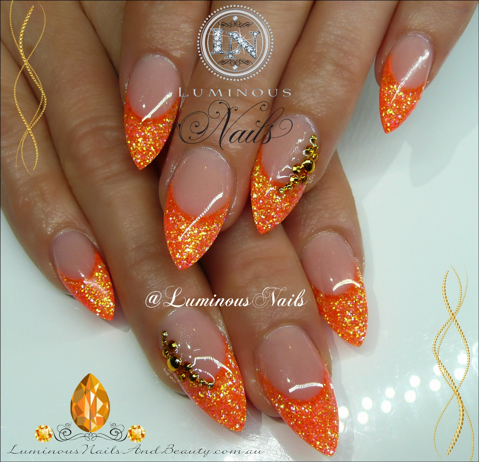 Neon Orange Acrylic Nails Glittery Neon Orange Nails