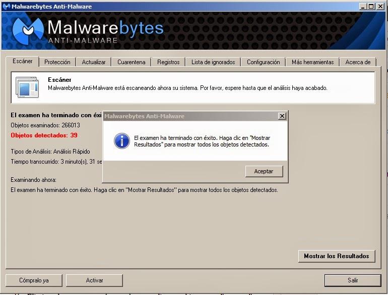 Malwarebytes Anti-Malware fin escaneo