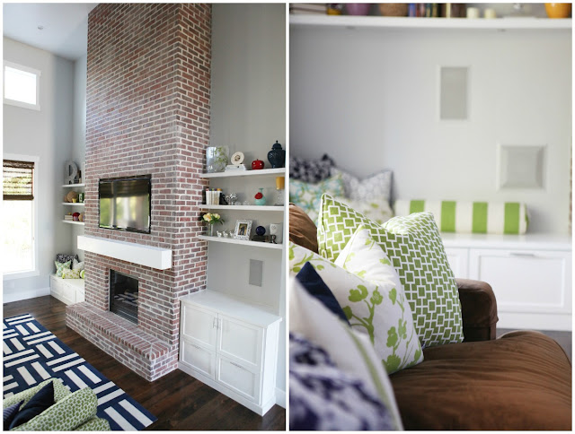 Modern Brick Fireplace Floating Shelves chunky mantel