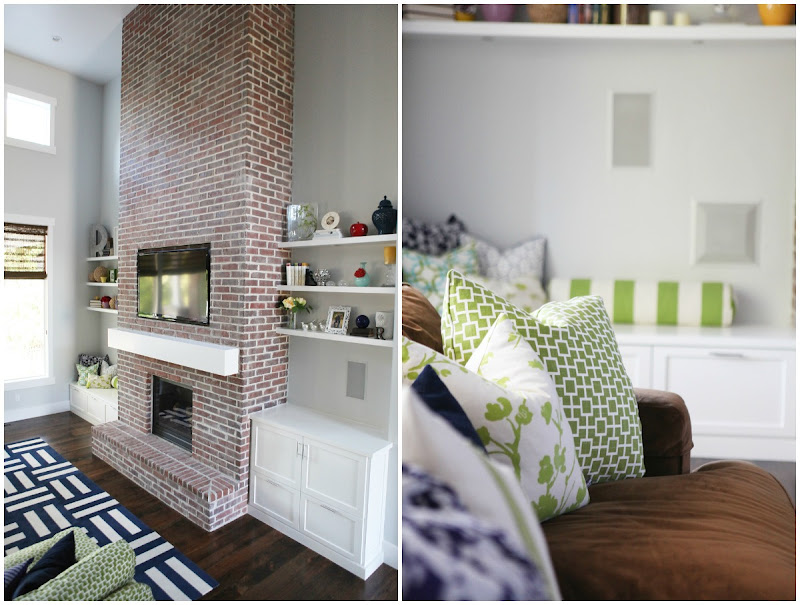 Brick Fireplace with Built Ins