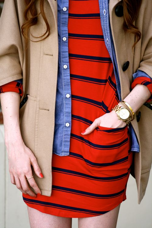 Golden-Divine-Blog-Michael-Stars-Stripe-Dress-Chambray-Top-Fairfax-Sunglasses-Michael-kors-Watch