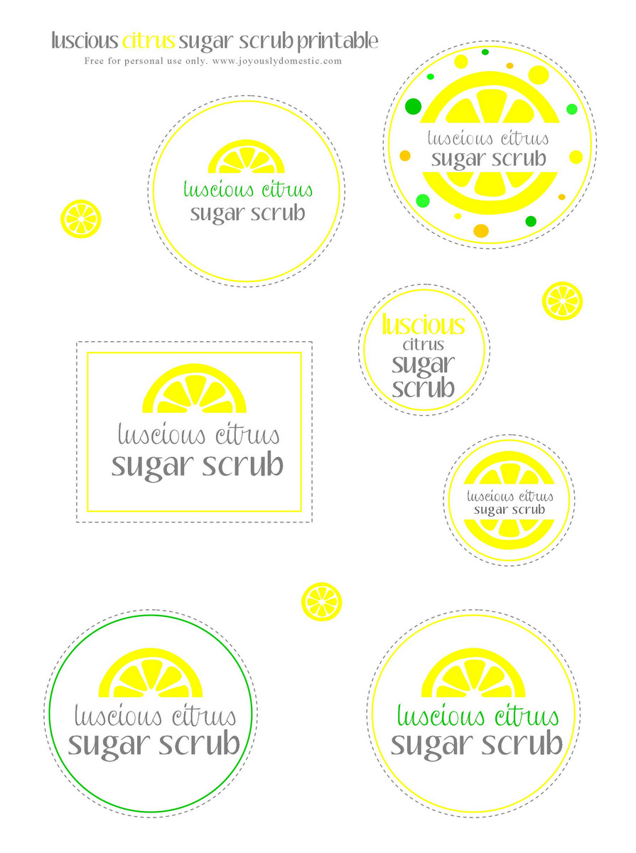 Sizzling image with printable sugar scrub labels