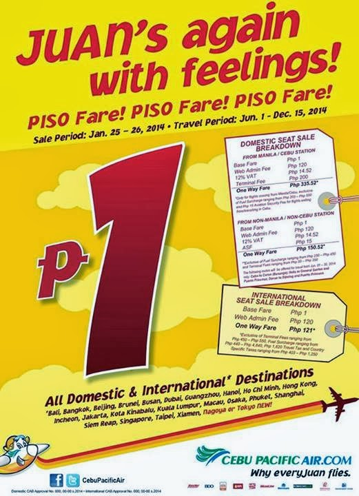 Cebu Pacific, Piso Fare, Cebu Pacific Air Piso Fare