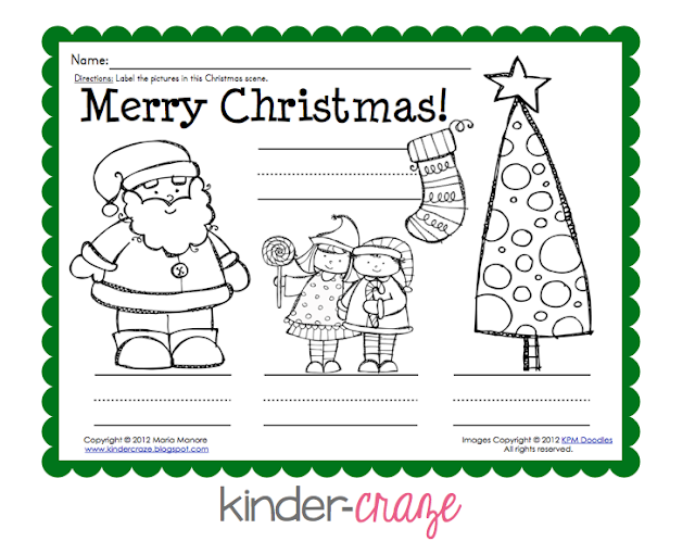 FREE Christmas labeling page - great for invented spelling!