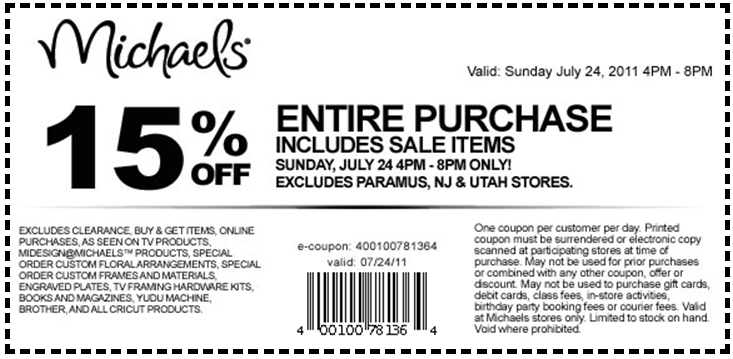 Oct 04,  · $20 Off $50 Michaels Coupon In Store Only: Shop at Michaels craft stores today and save $20 when you spend $50 or more. Print or present coupon to cashier. Note: You can print more coupons here for various craft items. Save on Yarn, art supplies, stickers, washi tape.. and more/5().