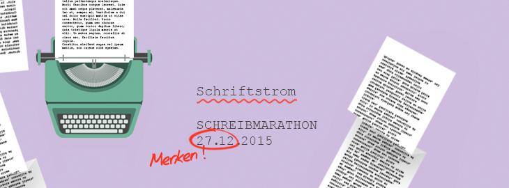 Schriftstrom - der Schreibmarathon für Autoren, veranstaltet von fieberherz.de! Sonntag, 27. November 15 bis 22 Uhr.  Gestaltung © fieberherz.de