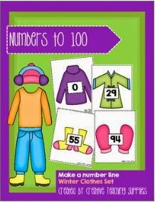http://www.teacherspayteachers.com/Product/Make-a-Number-Line-Numbers-to-100-Winter-Clothes-Set-1303162