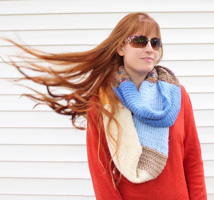 Infinity Scarf Knitting Pattern Size 8 Needles : Leftover yarn infinity scarf [knitting pattern] - Gina Michele