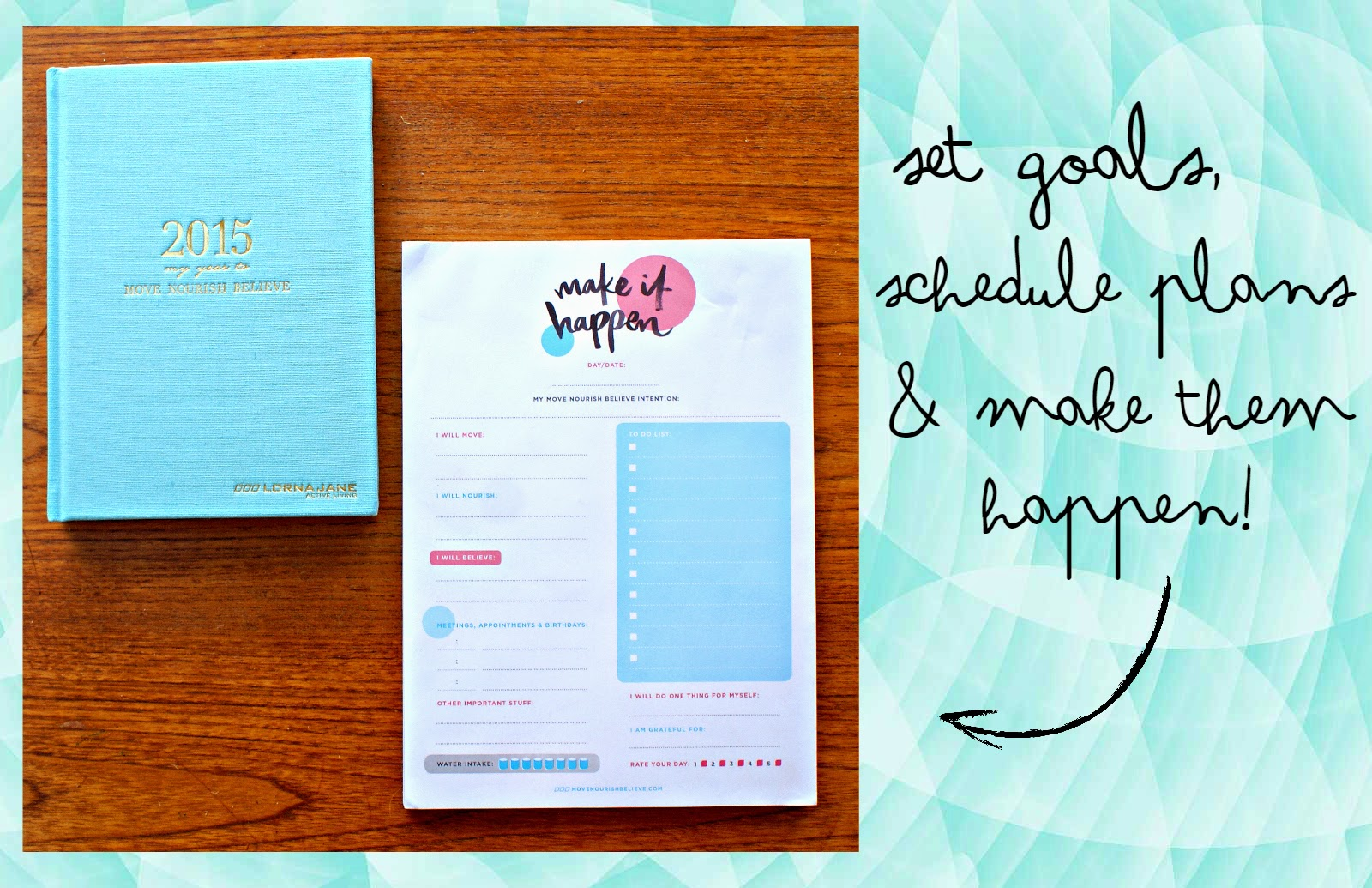 Lorna Jane Move Nourish Believe Diary Diary In Pale Blue $3999 Make It  Happen Planner Pad
