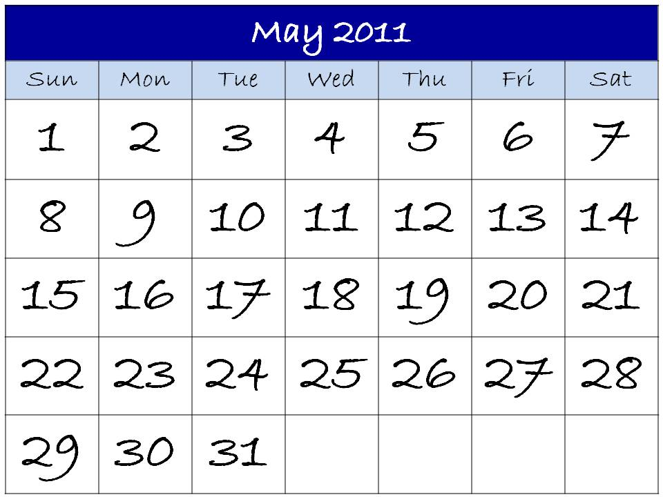 may calendar for 2011. house may calendar 2011