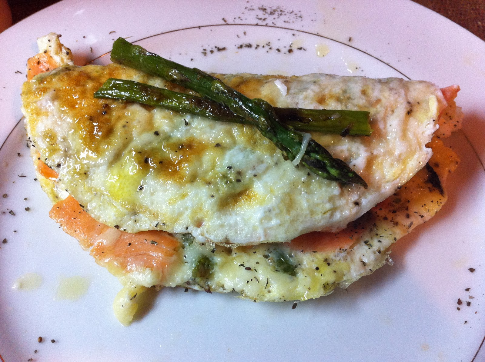 Skinny Simple Recipes: Skinny Smoked Salmon Asparagus Omelette