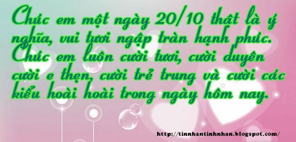 Những Lời Chúc 20-10 Hay Nhất tặng Người Yêu 2015