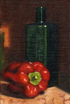 Oil painting of a red pepper beside a green antique poison bottle marked NOT TO BE TAKEN.