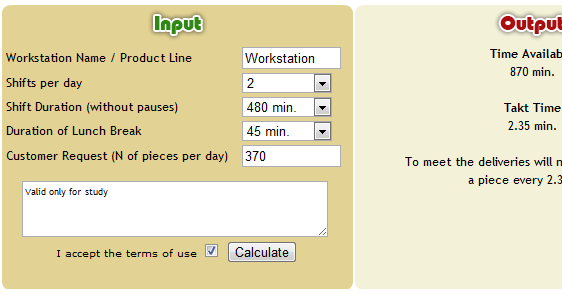 lean simulations  takt time calculator
