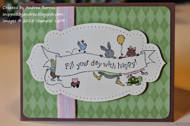 "Birthday card with gree patterned paper for the background. Focal image is a group of animals holding a banner that says ""Fill your day with happy."""