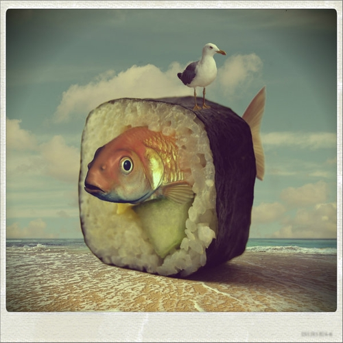 04-Sushi-Beach-Akşam-Gunesi-Surreal-Photo-Manipulation-to-suit-your-Mood