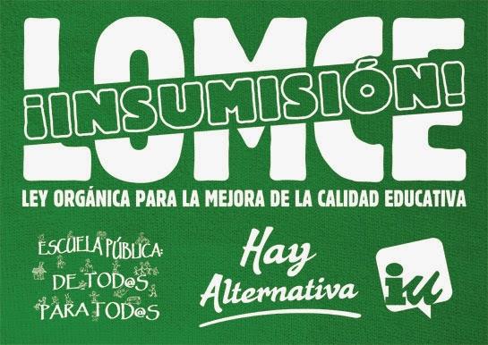 IU pone en marcha una campaña 'LOMCE NO: Insumisión.