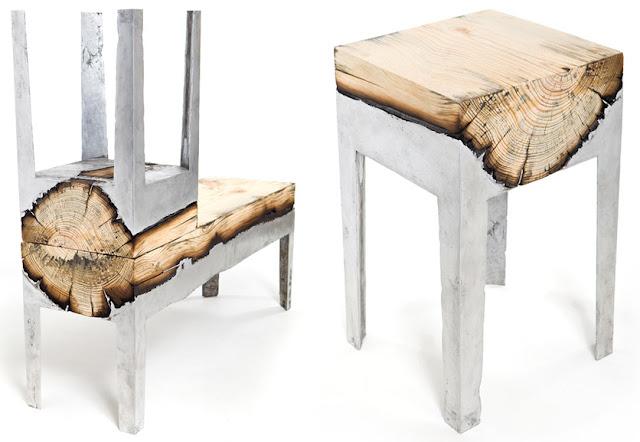 Wood casting muebles de madera y aluminio espacios en madera for Muebles con troncos