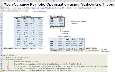 Mean-Variance optimzation with Excel