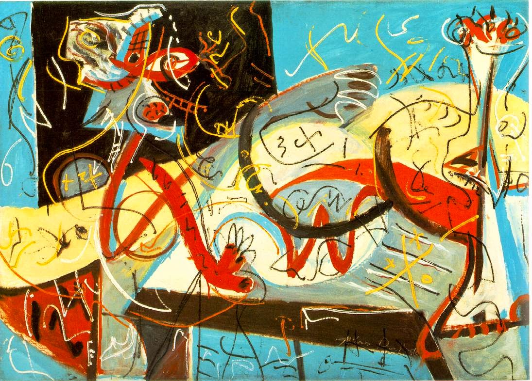 jackson Pollock, Stenographic Figure colourful bright blue red shapes patterns