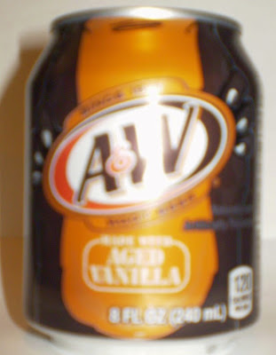 Front view of A&W Root Beer mini monster can