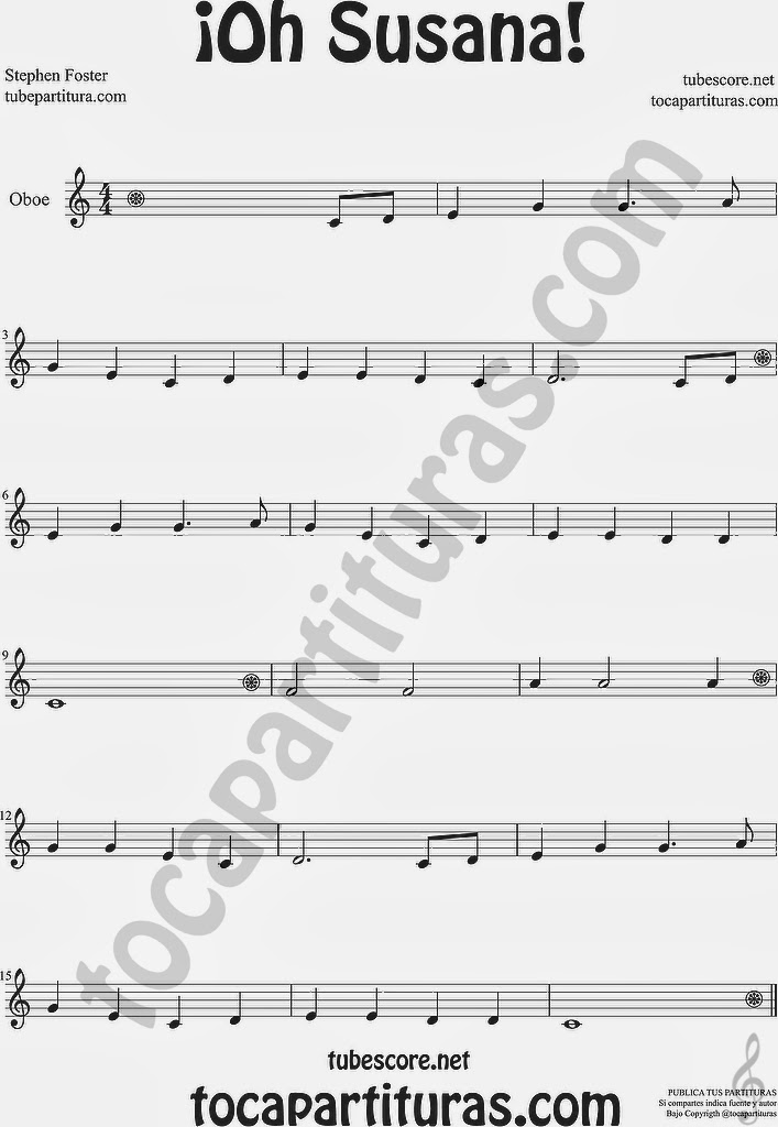 ¡Oh Susana! Partitura de Oboe Sheet Music for Oboe
