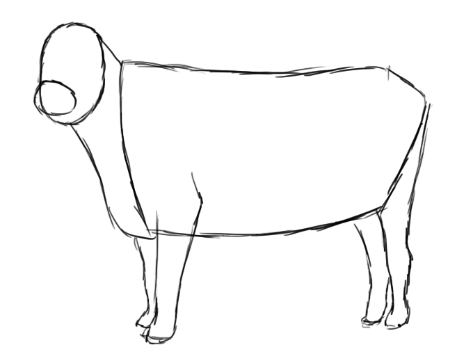how to draw cows line drawing