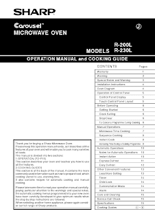 Download sharp carousel microwave manual