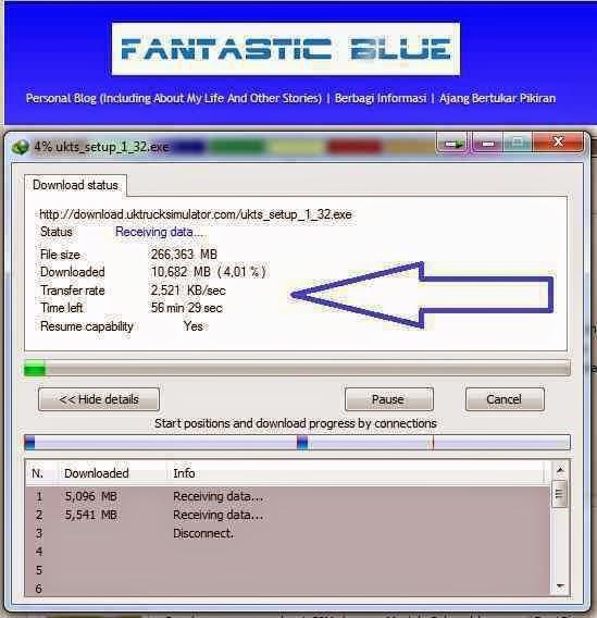Tampilan Download lambat Smartfren sebelum di Setting