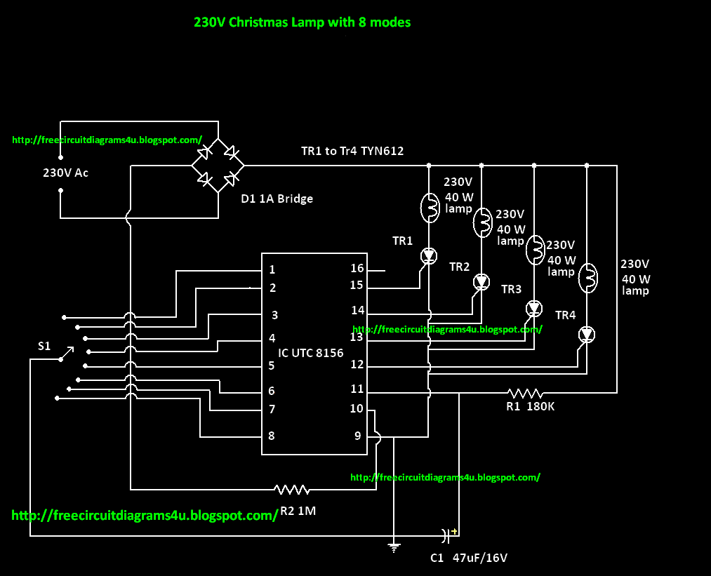 Free Circuit Diagrams 4u  230 V Christmas Lamp With 8 Modes
