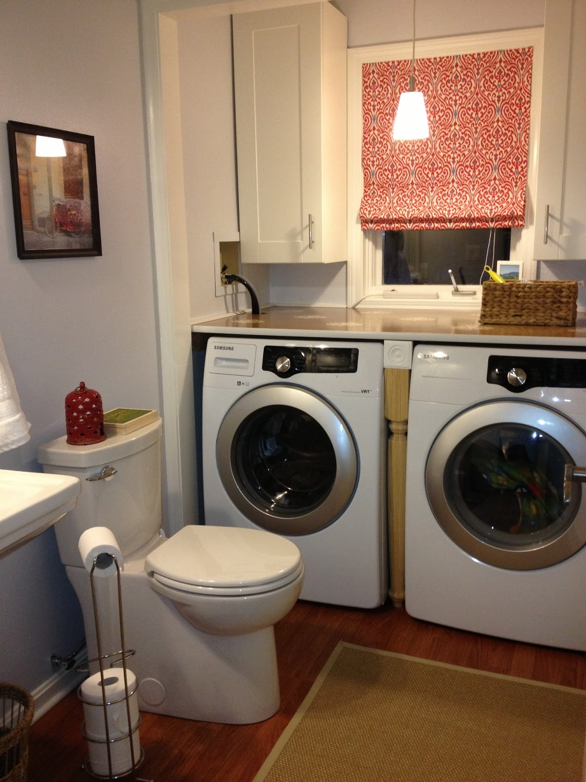 The beige house laundry and powder room renovation for Laundry bathroom designs