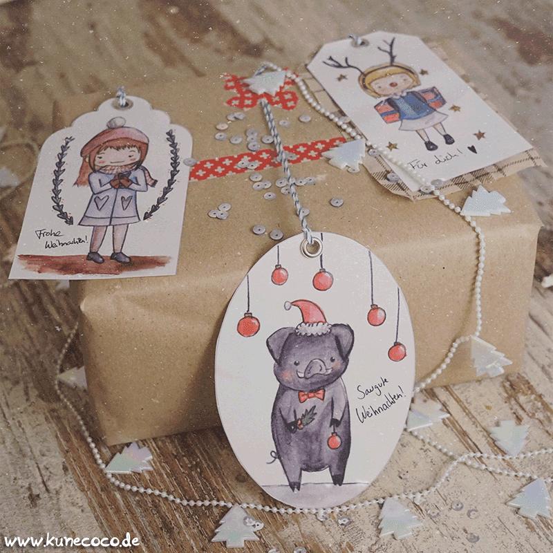 KuneCoco • Blogging under the mistletoe • Illustrierte Geschenkanhänger zum Ausdrucken