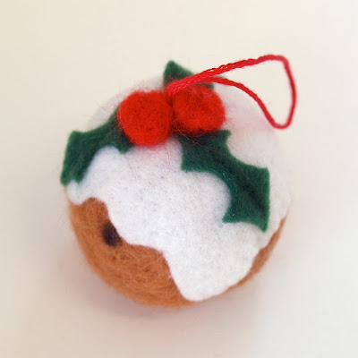 Needle felted Xmas Pudding Bauble